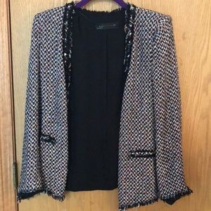 Zara multi colored tweed jacket/blazer